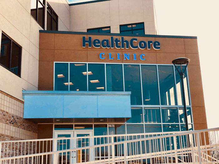 The main entrance to HealthCore Clinic in Wichita, Kansas